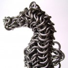 Chainlink sculpture of a seahorse.